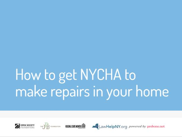Cover of new NYCHA resource on how to get repairs in NYCHA housing